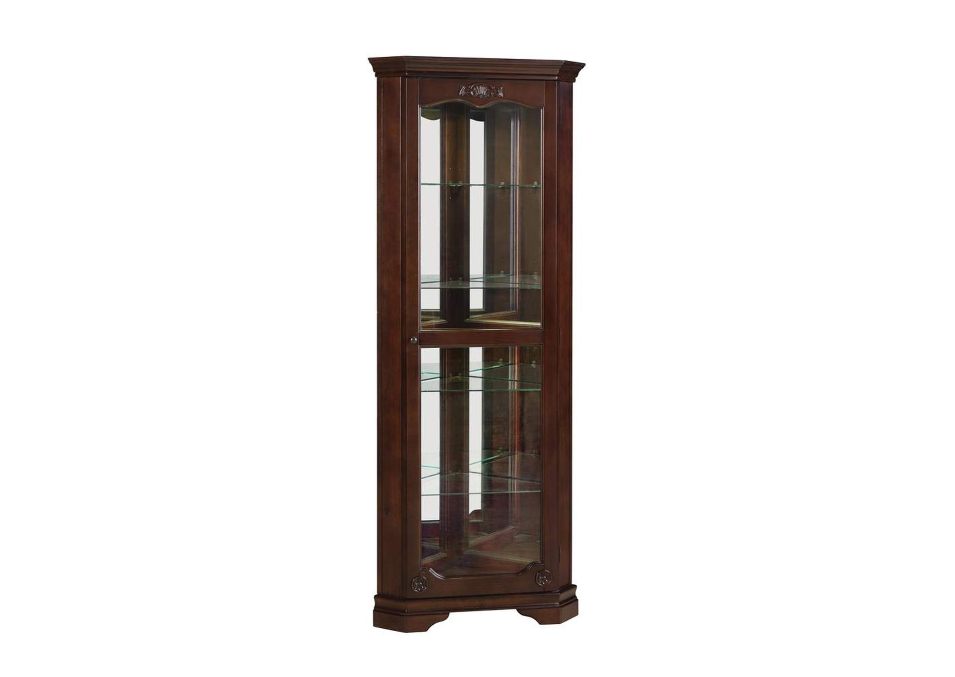 Mercury Traditional Golden Brown Curio Cabinet,Coaster Furniture
