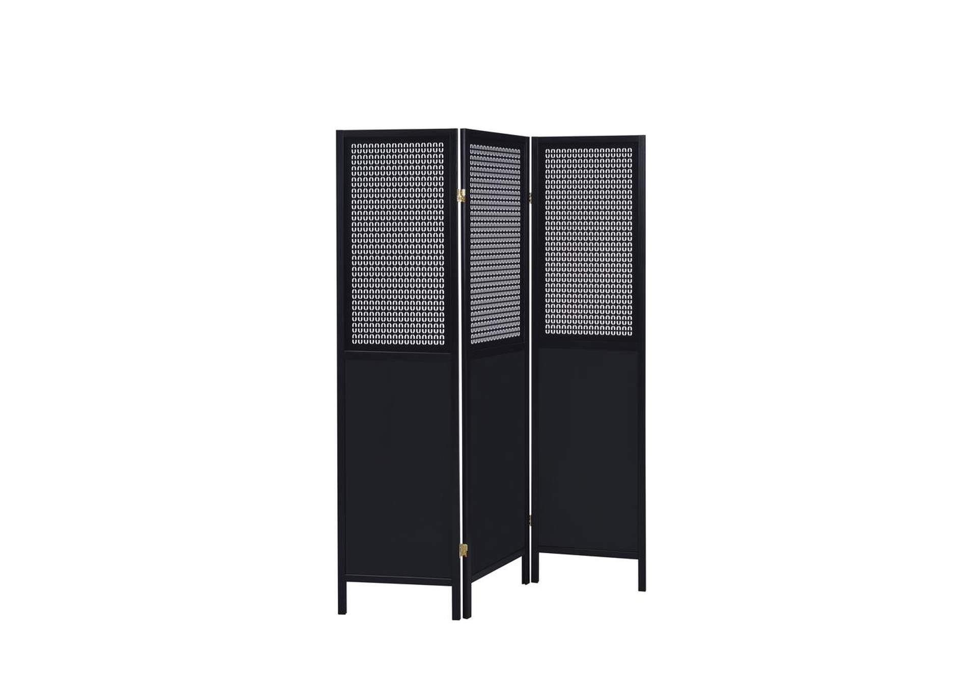 Shark Contemporary Black Three-Panel Screen,Coaster Furniture