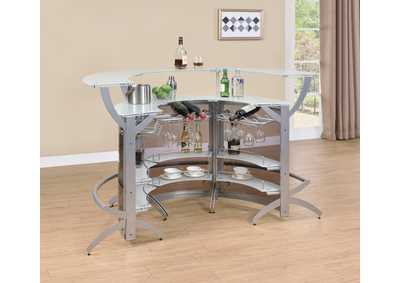 Metallic 3 Piece Bar Unit Set
