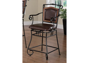 Brown & Black 24in Metal Bar Stool