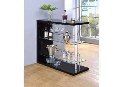 Image for Black High Gloss Contemporary Black Bar Unit