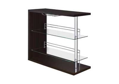 Cappuccino High Gloss Two-Shelf Contemporary Bar Unit