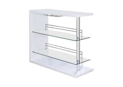 Image for White High Gloss Two-Shelf Contemporary Bar Unit W/ Wine Holder