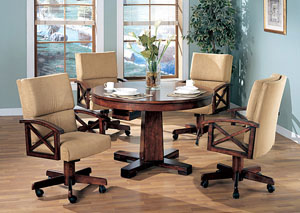 Black & Oak Convertible Dining Table w/4 Game Chairs