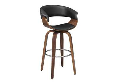 Image for Contemporary Walnut and Black Bar Stool