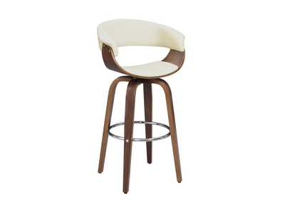Image for Contemporary Walnut and Cream Bar Stool