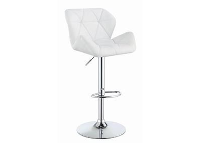 White Adjustable Bar Stool (Set of 2)