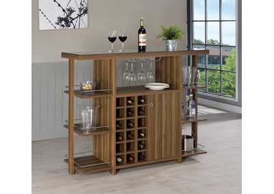 Walnut Bar Unit w/Wine Bottle Storage