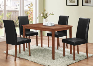Natural Walnut 5 Piece Dining Set