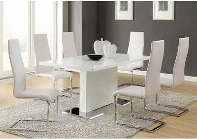 White and Chrome Dining Chair (Set of 4)