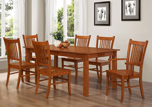 Light Oak Rectangular Dining Table w/ 4 Side Chairs and 2 Arm Chairs