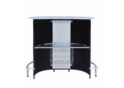 Image for Black and Chrome Bar Unit w/Frosted Glass Top