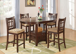 Image for Counter Height Table w/4 Tan & Brown Cherry 24in Bar Stools