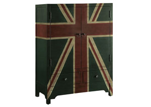 Image for Black Green Traditional Black Green Accent Cabinet W/ British Flag