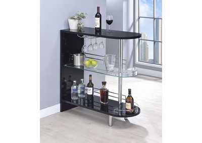 Image for Licorice Contemporary Glossy Black Bar Table