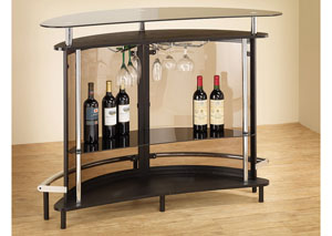 Image for Black Contemporary Black Bar Unit W/ Tempered Glass