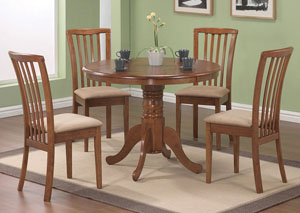 Brannan Light Brown Dining Table w/4 Beige & Oak Zeta Chairs
