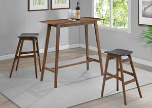 Natural Walnut Bar Table w/2 Barstools