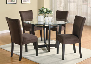 Bloomfield Cappuccino Round Glass Top Dining Table w/4 Chocolate & Cappuccino Parson Chairs