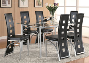 Table w/6 Black & Silver Dining Chairs
