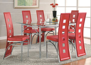 Table w/6 Red & Silver Dining Chairs