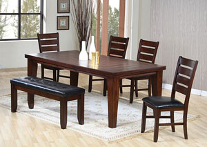 Dining Table w/ 4 Black & Oak Side Chairs & Bench