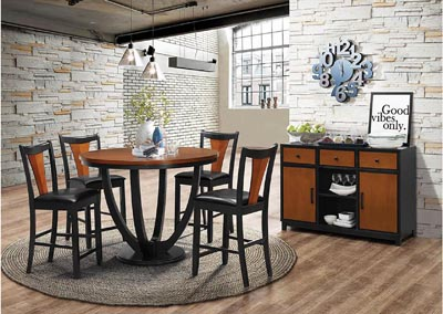 Boyer Black/Cherry Table w/4 Cherry Dining Chairs