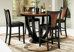 Image for Boyer Black/Cherry Counter Height Table w/4 Bar Stools