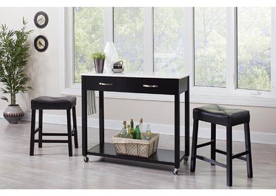 Black 3 Piece Table/Stool Set