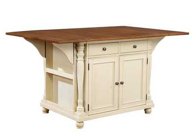 Image for Stark White Slater Country Cherry and White Kitchen Island