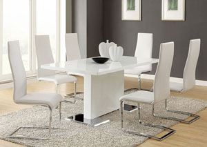 Nameth White Dining Table w/4 Side Chairs