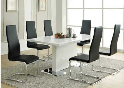 White Dining Table with Chrome Base