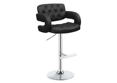 Image for Eerie Black Contemporary Black Faux Leather Adjustable Bar Stool