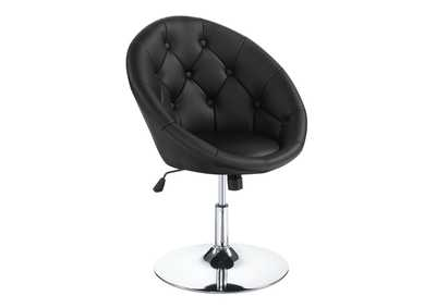 Image for Chrome Contemporary Black Faux Leather Swivel Accent Chair