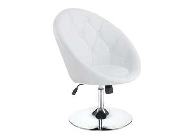 Image for Chrome Contemporary White Faux Leather Swivel Accent Chair