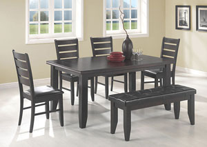 Dining Table w/4 Side Chairs & Cappuccino Bench