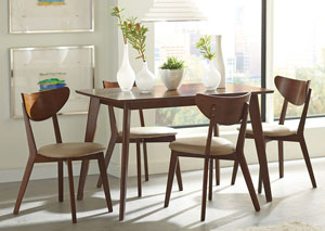 Kersey Walnut Dining Table w/4 Side Chairs
