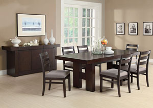 Dabny Cappuccino Dining Table w/ 6 Side Chairs & Server