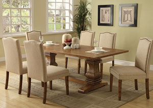 Coffee Dining Table w/ 6 Ivory Parson Chairs
