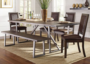 Genoa Wire Brushed Cocoa/ Black Dining Table, 4 Side Chairs & Bench