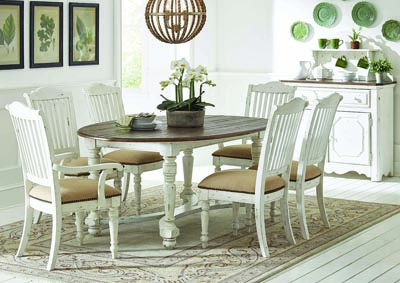 Vintage White Oval Dining Table w/4 Side Chairs