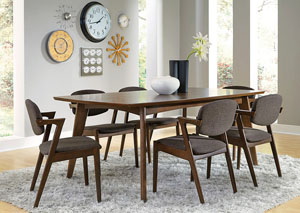 Walnut Dining Table w/6 Chairs