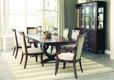 Walnut Rectangular Extension Dining Table w/4 Side Chairs, 2 Arm Chairs & Buffet w/Hutch