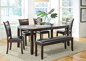Dark Brown & Cherry Dining Table w/ 6 Chairs