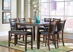 Dark Brown & Cherry Counter Height Table w/ 6 Chairs & Bench