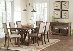 Dining Table, Four Side Chairs & Server