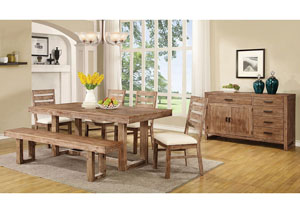 Wire Brushed Nutmeg Dining Table, Four Side Chairs & Bench