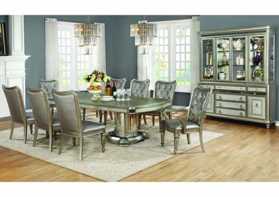 Metallic Platinum Dining Table w/2 Arm Chairs and 6 Side Chairs