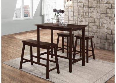 Cappuccino 4 Piece Counter Height Dining Set