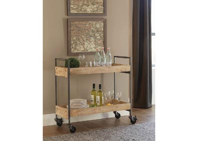 Sandblasted White 2-Shelf Serving Cart